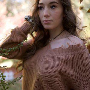 Raw Hem Sweater - Taupe
